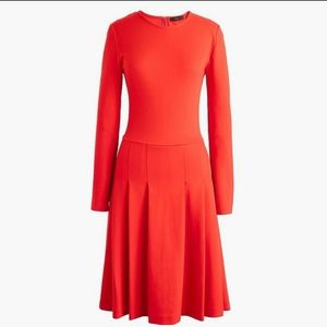 J. CREW Red Ponte Pleated red  dress 0